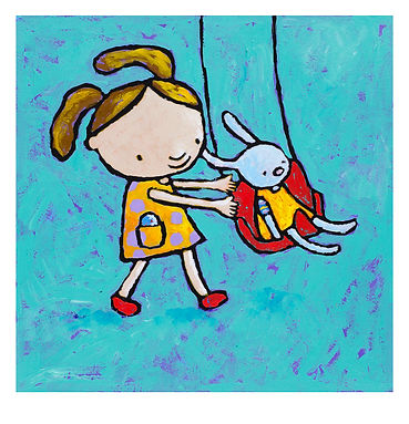 Poppy and me illustration of girl pushing a rabbit on a swing.jpg