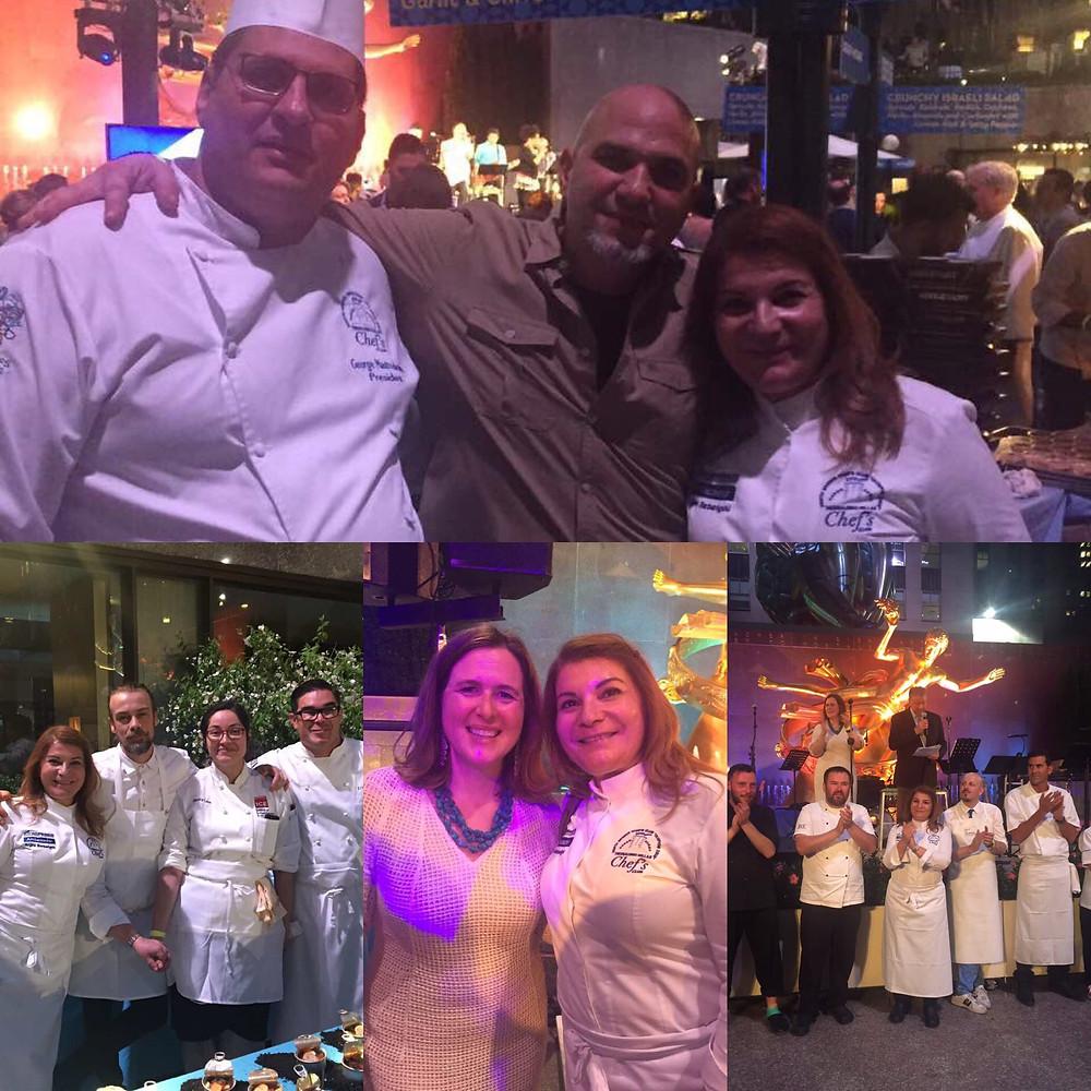 George Mastrodemetris, Argiro Barbarigo and Michael Psilakis at Citymeals Chef's Tribute, Rockefeller Center