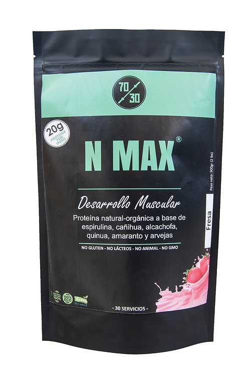 N MAX - Proteína de origen vegano (900g - Fresa)