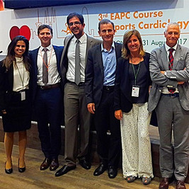 Dra Sanz (Sports Cardiologist), Dr Pieles, Dr Papadakis (Sports Cardiologist), Dra Sitges, Dr Mont (EP Cardiologist)