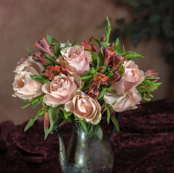 Pink Roses in Antique Watering Pot with