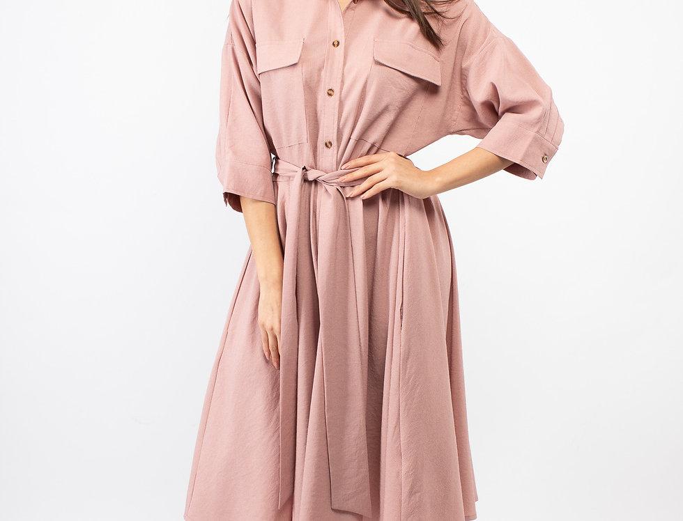 Vestido midi camisero rosa