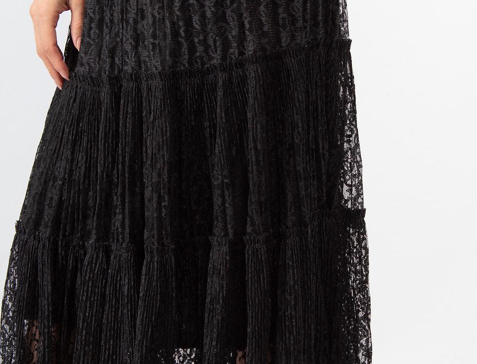 Falda encaje con olanes negra