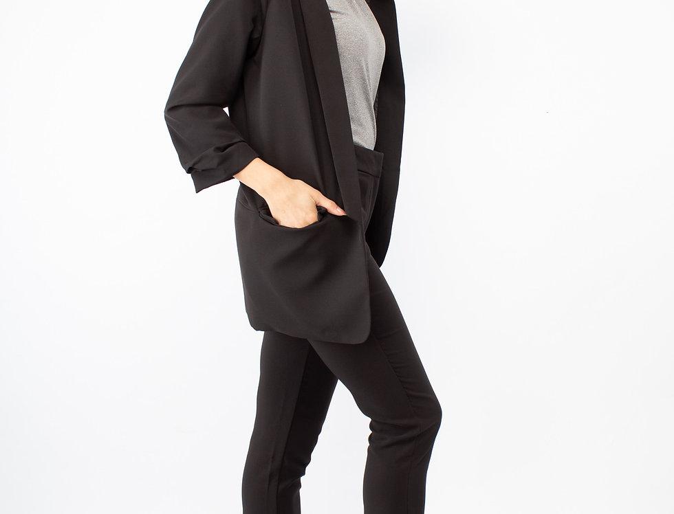 Set de pantalón tubo y boyfriend blazer negro