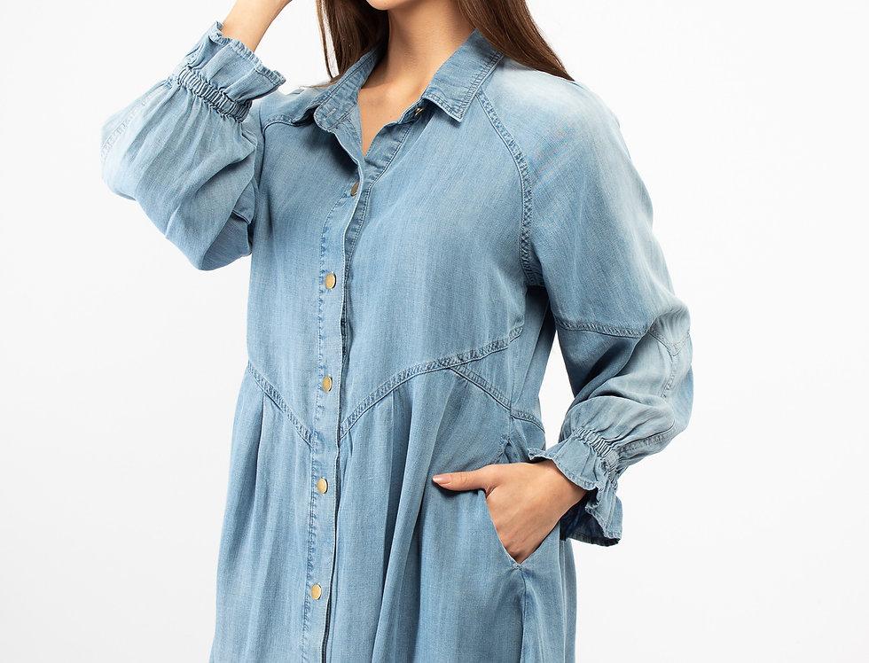 Vestido mezclilla con botones manga larga