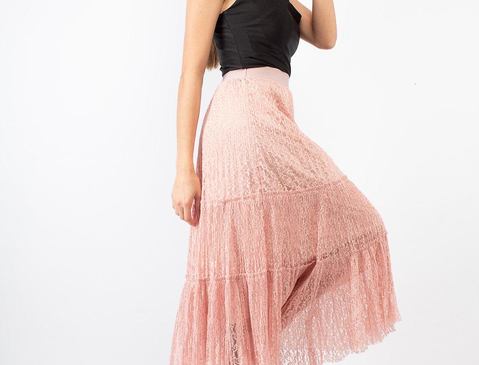 Falda encaje con olanes rosa
