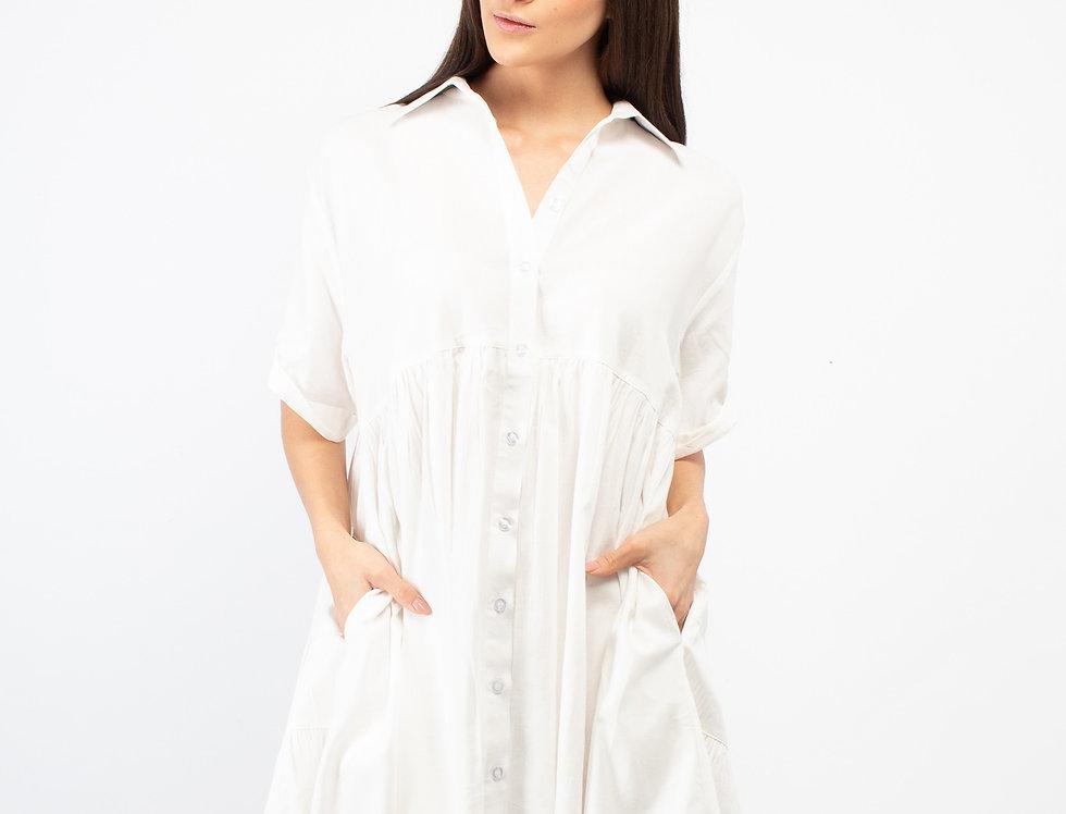 Vestido camisero con olanes algodón