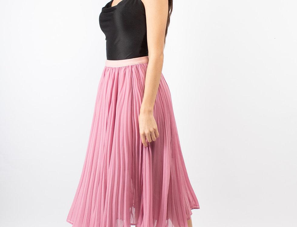 Falda midi plisada rosa
