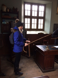 Mrs Davies using the cane..look out!