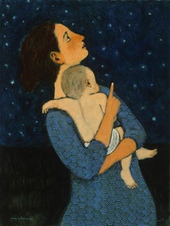 ...with her balance she weighs and measures the distance between stars.  ~ from my poem 'Introductions' (Art by Brian Kershisnik)