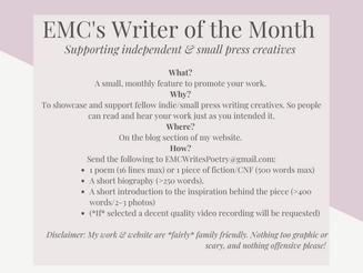 EMC's Writer of the Month