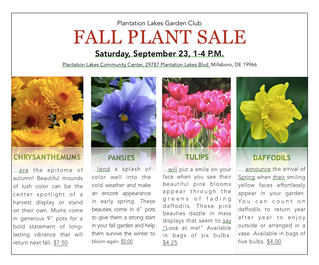 Fall Plant Sale Scheduled