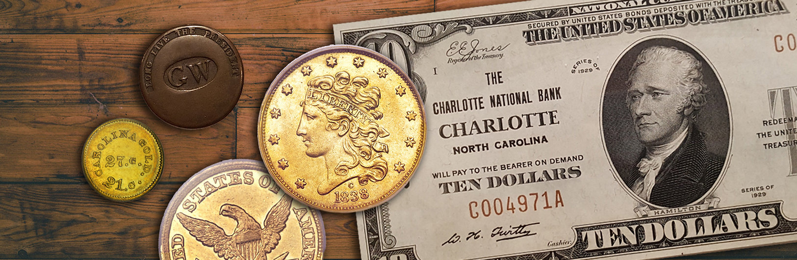 charlotte rare coins header image of rare coins and paper money