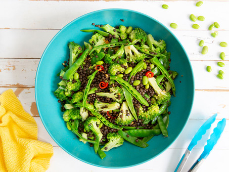 Puy Lentil Salad with Edamame, Sugar Snap Peas & Broccoli
