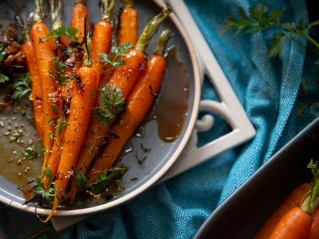 Roasted Carrots with Sesame, Honey and Parmesan