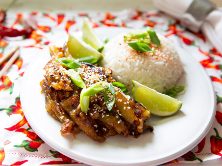 Eggplant with Sticky Chilli Garlic Sauce