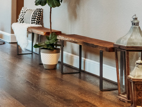 DIY Wooden Benches With Metal Legs