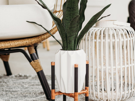 Copper + Wood Plant Stand