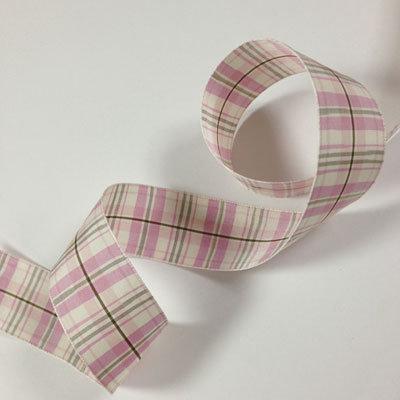 【1m~切売り】チェックリボン(ピンク) 36mm幅