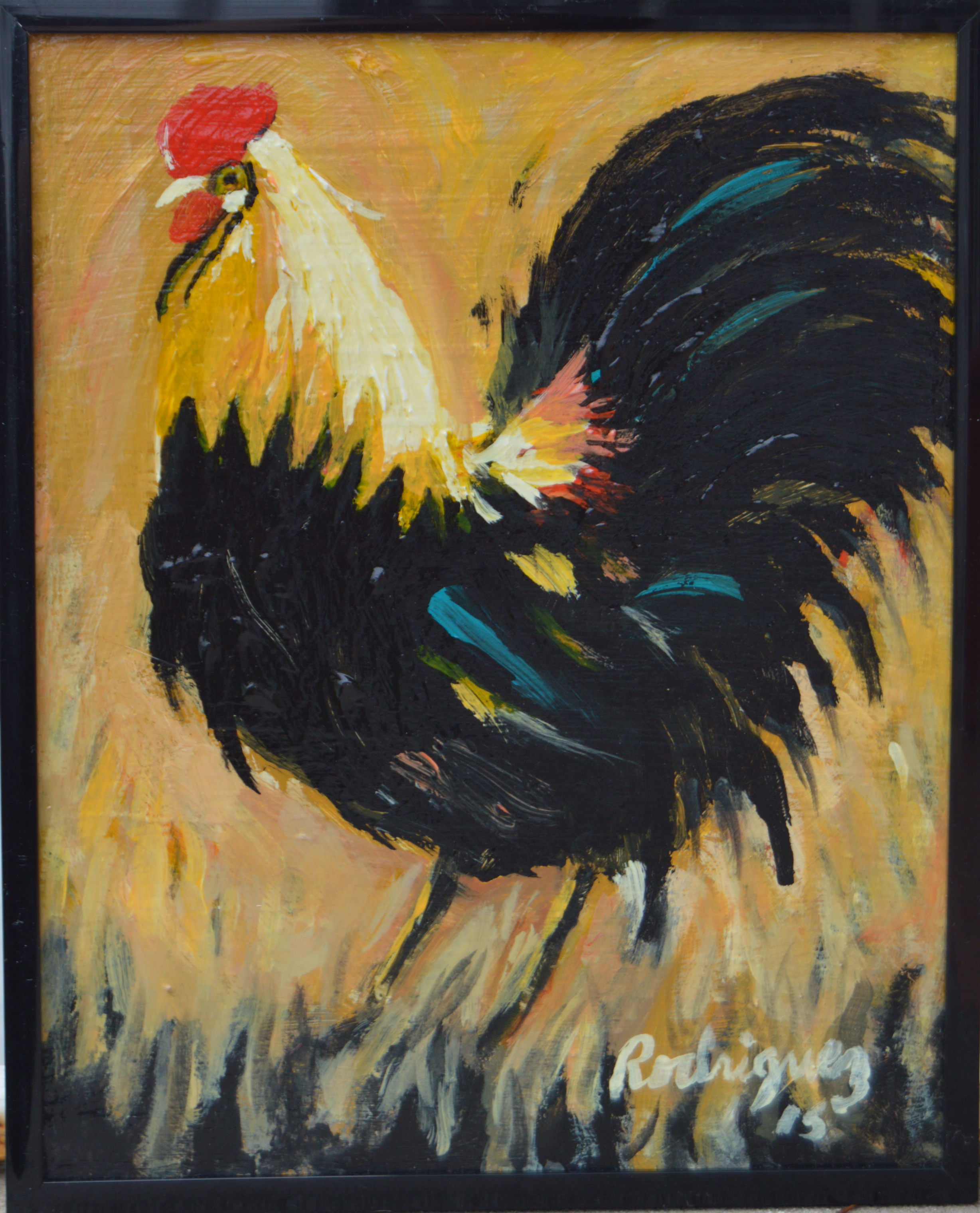 Gold, Black & Blue Rooster