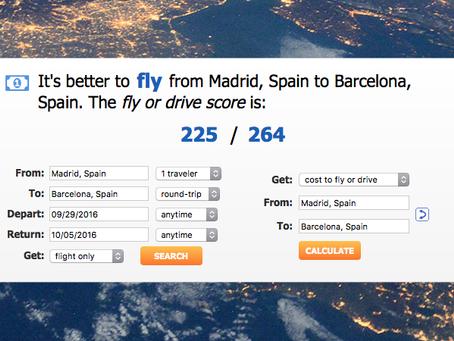 Esta web calcula el coste real de viajar entre dos ciudades y decide si es mejor volar o conducir