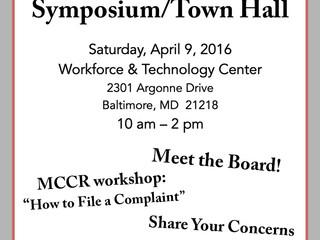 MDAD Symposium/ Town Hall on April 9th