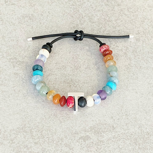 Natural Gemstone Bead Initial Bracelet