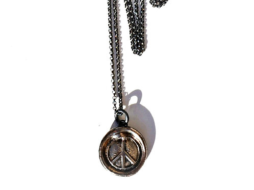 Peace Sign Wax Seal Stamp Necklace