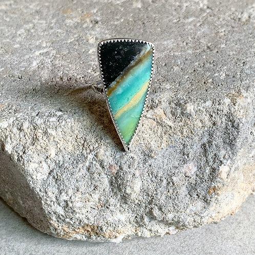 Indonesian Wood Opal Basic Bezel Set Ring - adjustable size