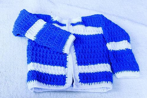Crochet blue sweater