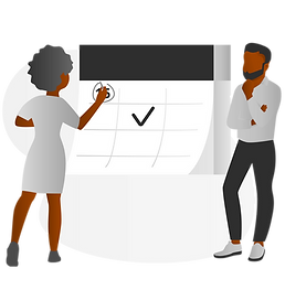 Black Man and Woman Working on Calendar.