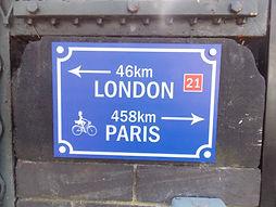 Avenue verte, Voyage, vélo, tandem, cyclotourisme, cyclocamping, panneau