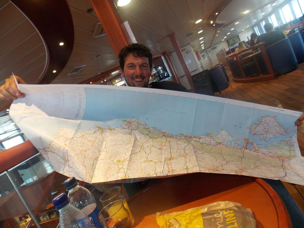 Carte de l'Est du Sussex acheté sur le ferry