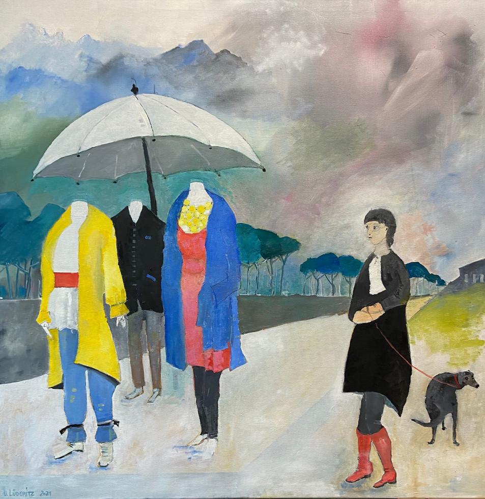 Models im Regen