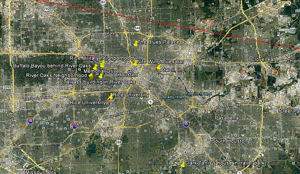 Buffalo Bayou Blues - Bill Travis Mysteries Houston locations map