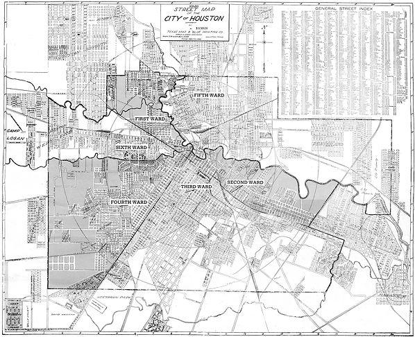 Buffalo Bayou Blues - Bill Travis Mysteries research map