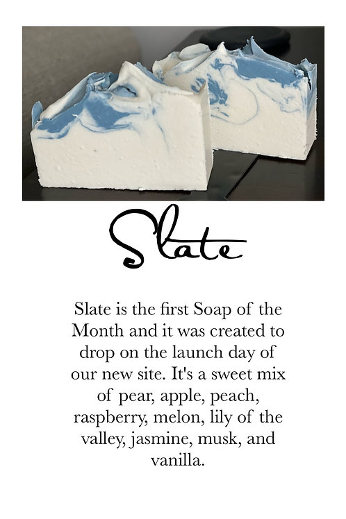 Slate - Cold Processed Soap 6.5 oz bar will last 3 months minimum