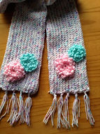 Handmade knitted scarf, floral