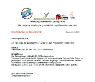 Saisoninformation Oberliga RPS
