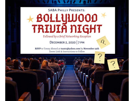 12/2/2020:  Bollywood Trivia Night Event