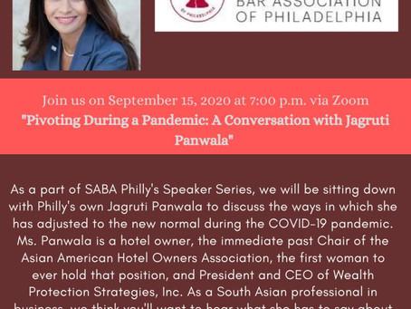 SABA PHL Speaker Series:  A Discussion with Jagruti Panwala