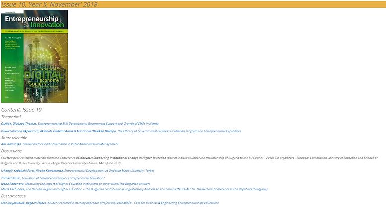 Journal of Entrepreneurship & Innovation