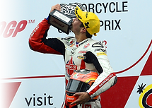 Gino Rea on the podium in Sepang