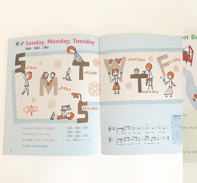 ◯はじめての英語の歌CD付き  学習研究社  6  sunday monday tuesday 16 London Bridge 見返し、CD  を描かせて頂きました。