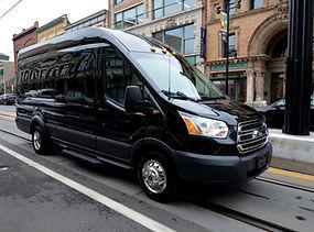 Luxury black car service in Charleston in Ford Transit Van