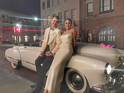 Vintage wedding getaway car in Charleston