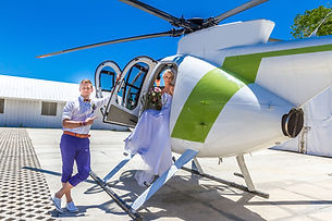 Wedding helicopter getaway in Charleston