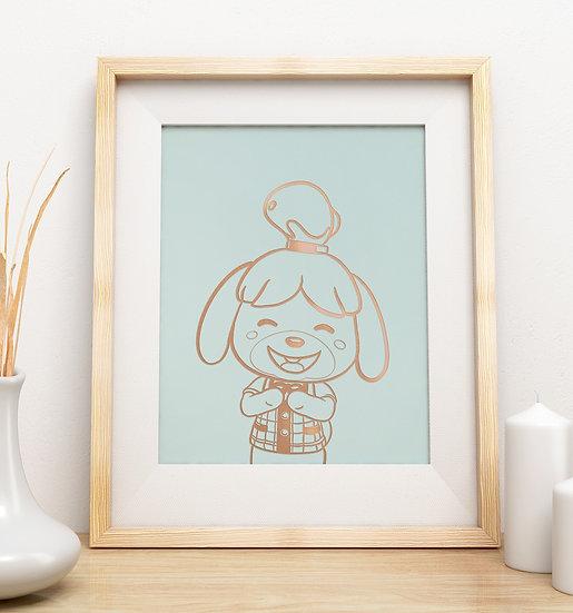Affiche Animal Crossing Marie(isabelle) Dorée