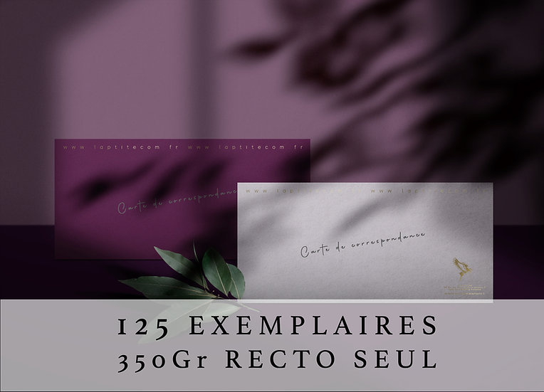 Carte de correspondance rectangulaire 13 cm x 8 cm RECTO