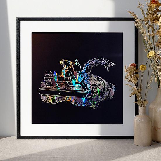 Affiche Delorean Back to the future Holographic